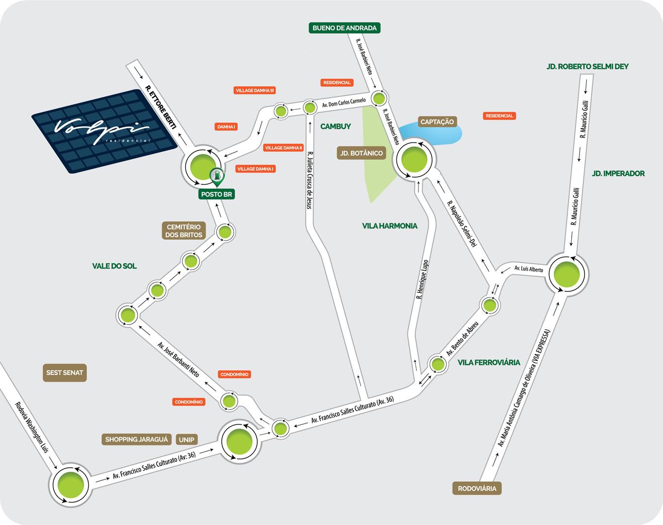 Veja o mapa de localização do Residencial Volpi