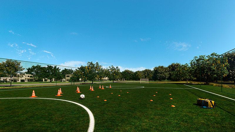 Campo para treinamento e jogos de futebol